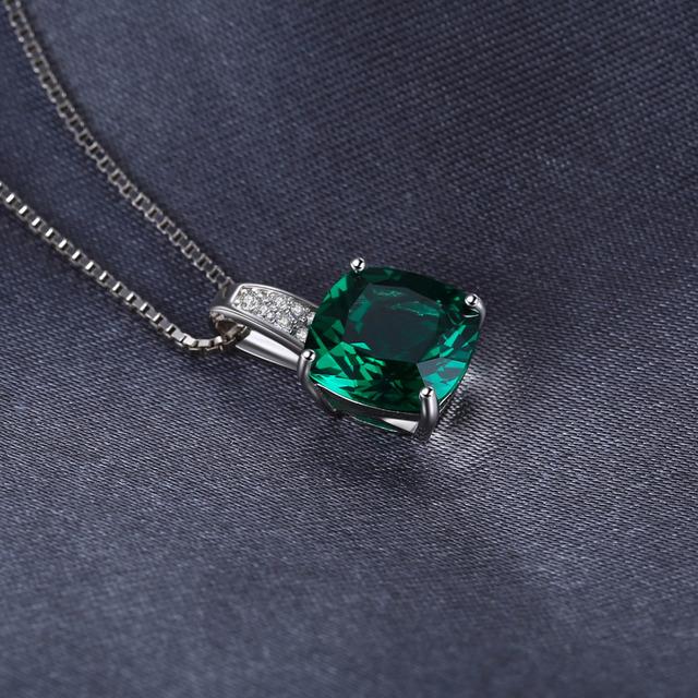 Created Emerald Silver Pendant
