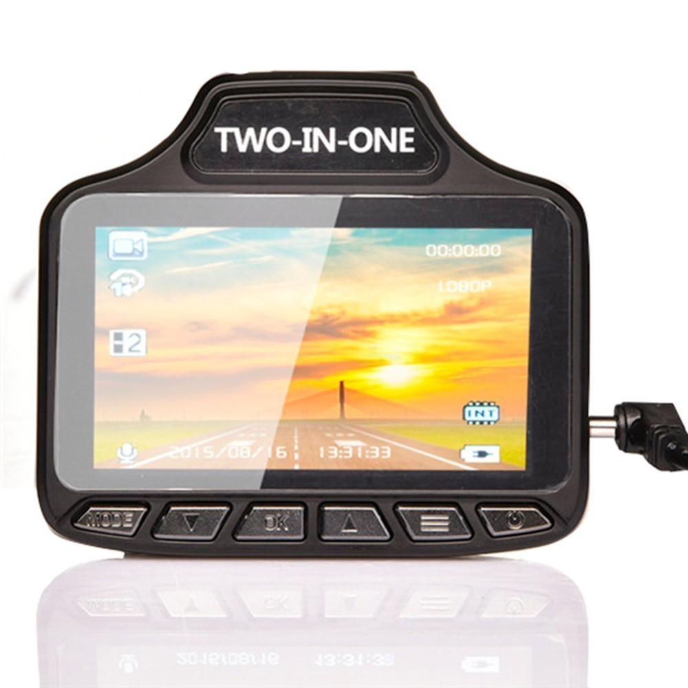 2 dans 1 Voiture Voix Radar Détecteur Universel Dash Cam Anti Détecteur de Radar Voiture DVR Caméra Flux Détection G- capteur de Conduite Enregistreur