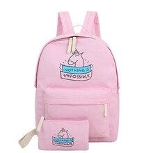 Femmes toile sac à dos de mode mignon sacs de voyage impression sacs à dos 2 pcs/ensemble nouveau style ordinateur portable sac à dos pour les adolescentes MI6544