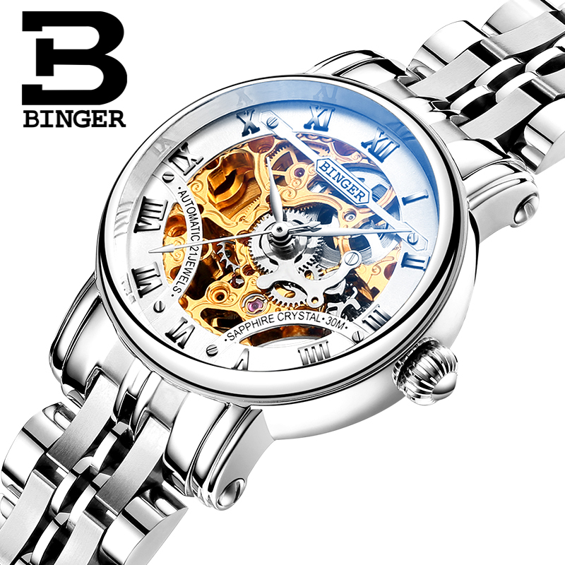 Двойной скелет механические часы Швейцария роскошные женские Бингер бренд Сапфир нержавеющая сталь B-5066L-1