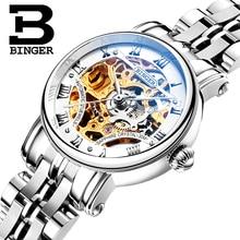 Double Skeleton Mechanical Wristwatches Switzerland luxury Women's Watches BINGER Brand Sapphire Stainless Steel Clock B-5066L-1