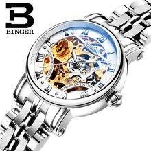 Suisse de luxe femmes montres BINGER marque Évider Mécanique Montres saphir acier inoxydable plein B-5066L