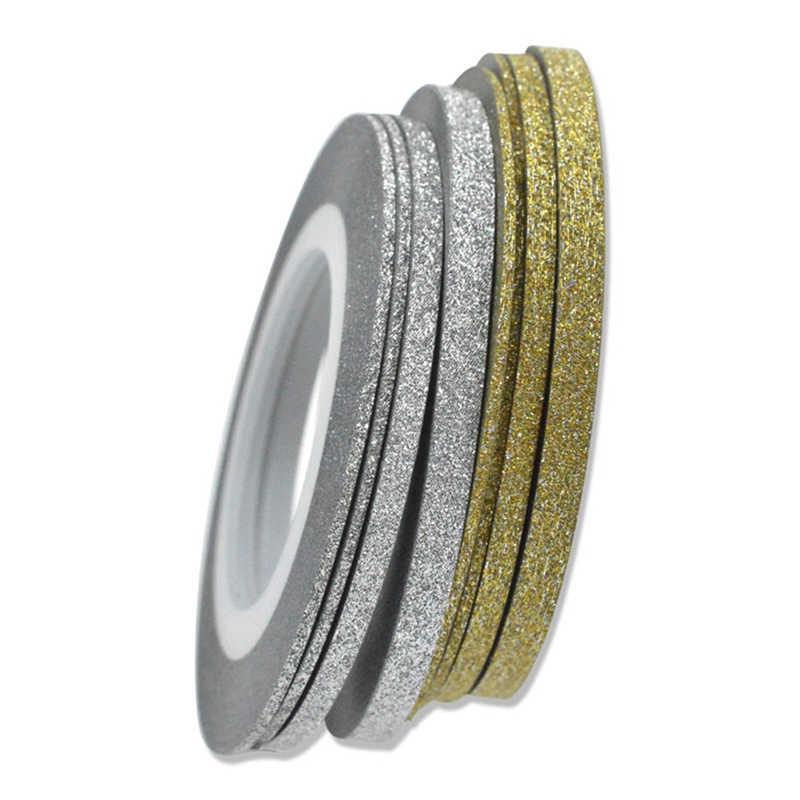 1 rotolo 20m Unghie Artistiche Glitter Oro Argento Tape Strippaggio Linea Strisce Decor Strumenti 1mm2mm3mm Autoadesivo del chiodo ACCESSORI Fai Da Te