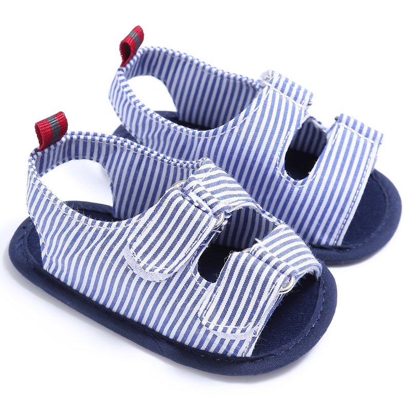 Summer Holiday Beach Toddler Baby Boys Fashion Breathable Anti Slip Crib Stripe Shoes Kids Shoes Prewalkers Sandals