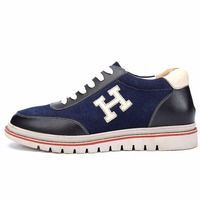 X6682 New Mens Comfortable Calf Leather Height Heels Elevated Shoes Grow Taller 6cm For Boys Blue