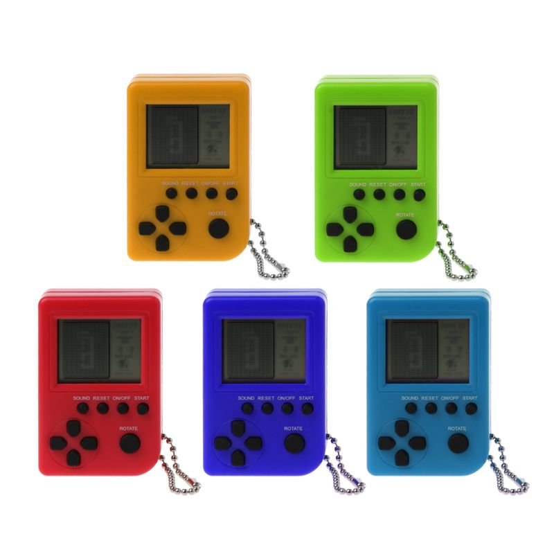 Tetris Mini Handheld Child Video Game Console Capsule Toy Built In 26 Games Use For Key Chain Ring Gift Random Color