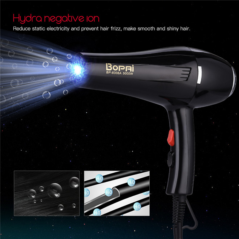5000W High Power Hair Dryer Professional Salon Blow Dryer Negative Ionic Blower Hot Cold Air Speed Adjust Hairdryer Styling Tool dryer pet dog professional hair dryer ultra quiet high power stepless regulation of the speed drying machine 2400 w