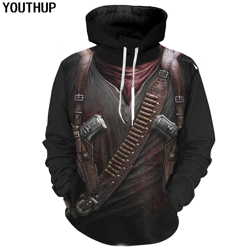 YOUTHUP 2018 Assassin Cosplay 3d Hoodies Male 3D Print Hoodies Cool Fashion Hooded Sweatshirts Men Hip Hop 3d Pullover Plus Size image