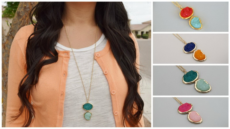 2016 Hot Selling Geometric Rainbow Druzy Necklace Long Women Fashion Sweater Chain Necklace