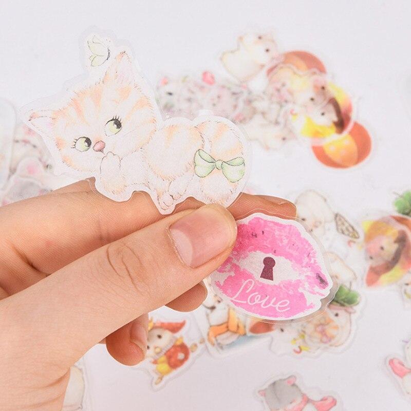 50-68 pcs/bag Beautiful flowers cute cat paper sticker children diy Handmade Gift Card photo album Scrapbook decoration stickers