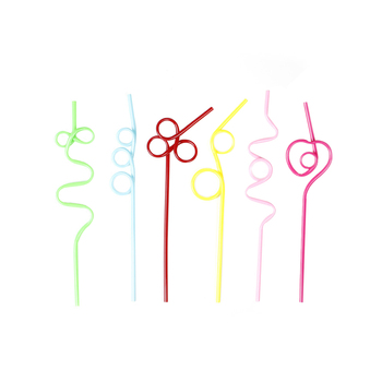 10 piezas Multi-color PET curva pajas de beber paja Flexible fiesta Bar beber accesorios Color al azar