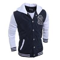 Fashion Casual Cotton Solid Waterproof Hoodies Stitching Mens Sweatshirt Streetwear Fleece Baseball Thickening Hoodie Clothing
