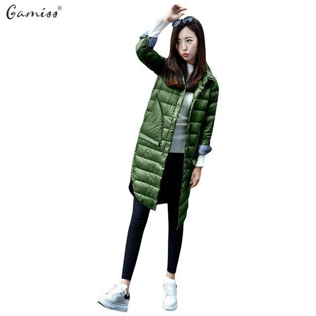 Gamiss осень-зима женские легкие Подпушки Парки длинная куртка женщин тонкий твердый Цвет отложной воротник длинный рукав; пуговицы пальто