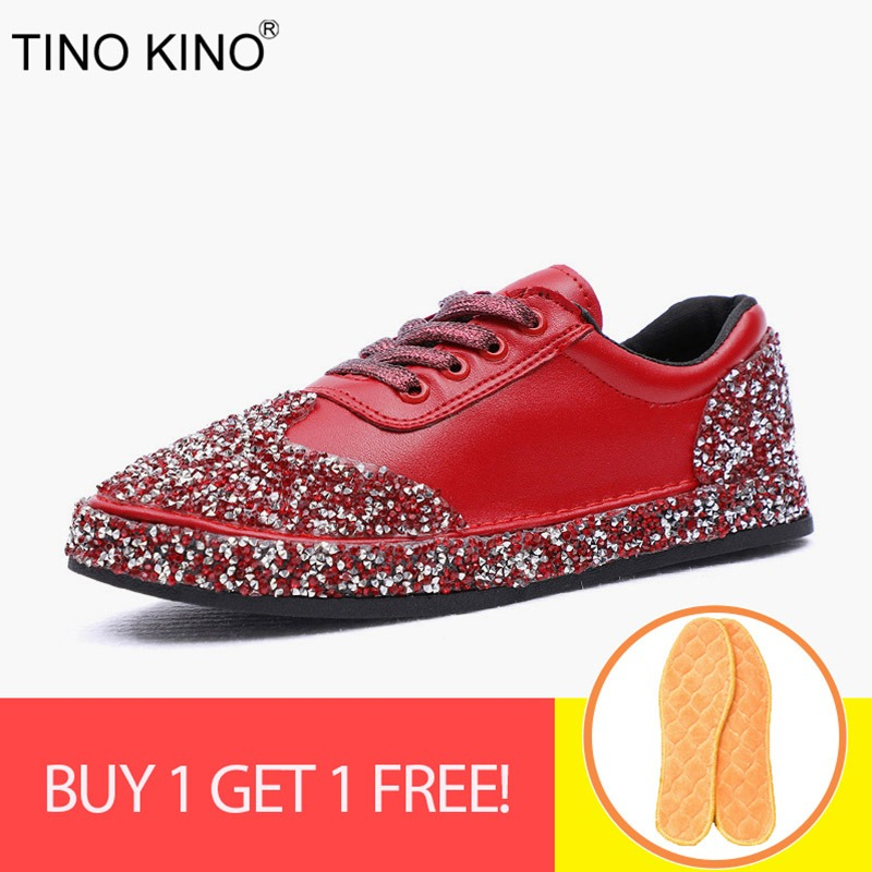 5c21d648 TINO KINO kobiet zasznurować płaskie jesień wulkanizacji buty damskie marki  kryształ nowa Bling buty w stylu