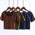 2017 Summer Velvet Crop Top O Neck Short Sleeve T shirt Casual Sexy Women Shirts tumblr Brand harajuku Plus Size APZZ1720