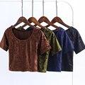2017 Verano Camisa corta de Terciopelo O Cuello de Manga Corta T camisa casual mujeres atractivas camisas tumblr marca harajuku más tamaño APZZ1720