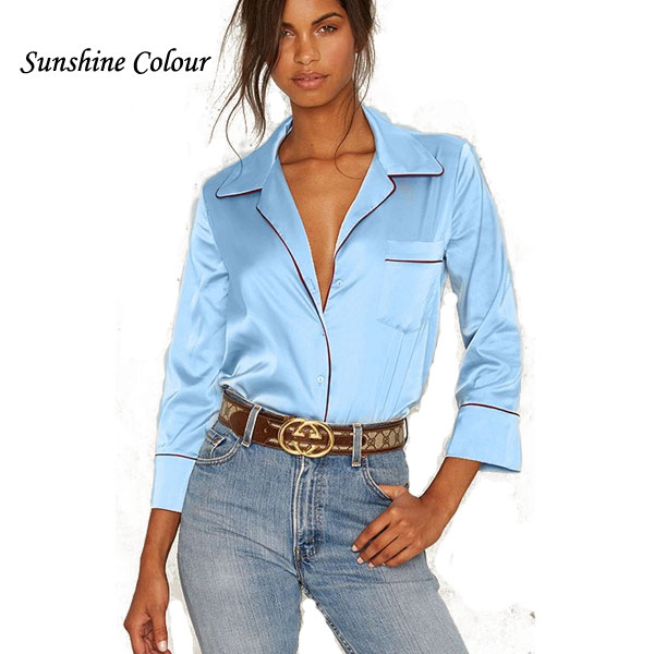 Popular Blue Satin Blouse-Buy Cheap Blue Satin Blouse lots from ...