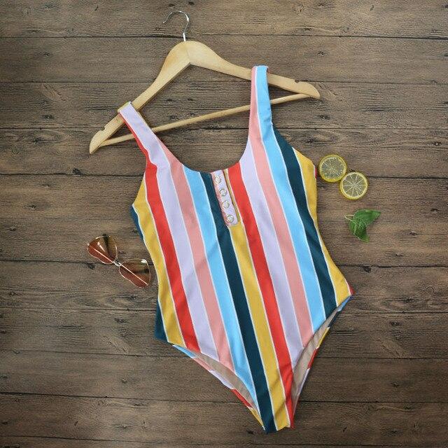2019 Striped Swimwear One Piece Swimsuit Women Backless Monokini Swimsuit Sport Bodysuit Beach Bathing Suit Swim Red White 2