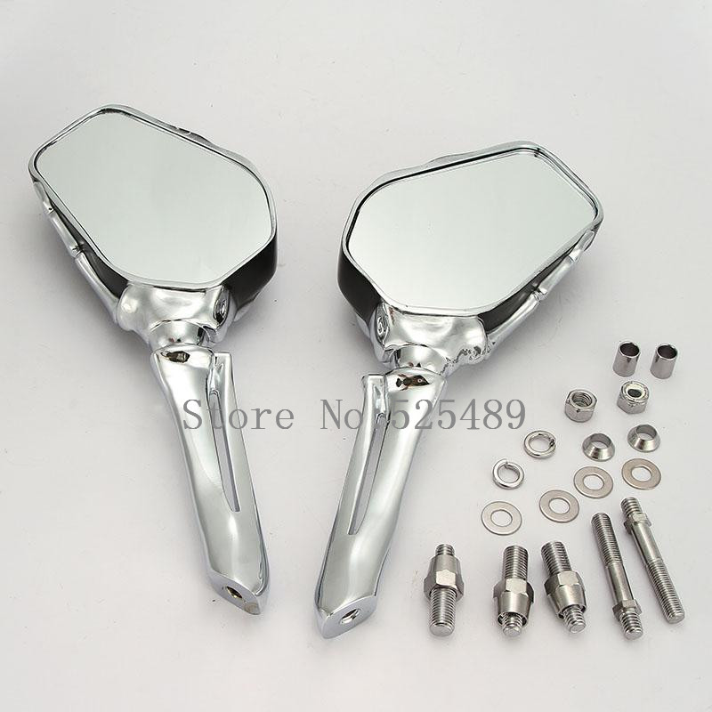 1 Pair Skull Hand CNC Motorcycle Rearview Side Mirrors For Honda Shadow Valkyrie Magna Rebel Kawasaki Yamaha Suzuki Benelli KTM