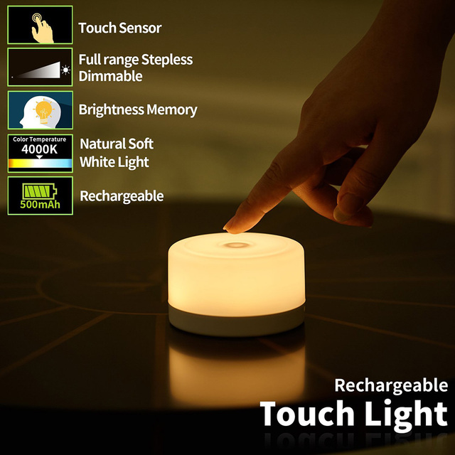 Children's Night Light Dimmable Touch LED Rechargeable Kids Lights Lamp for Baby Room Bedside Creative Bedroom Nursery Lamp