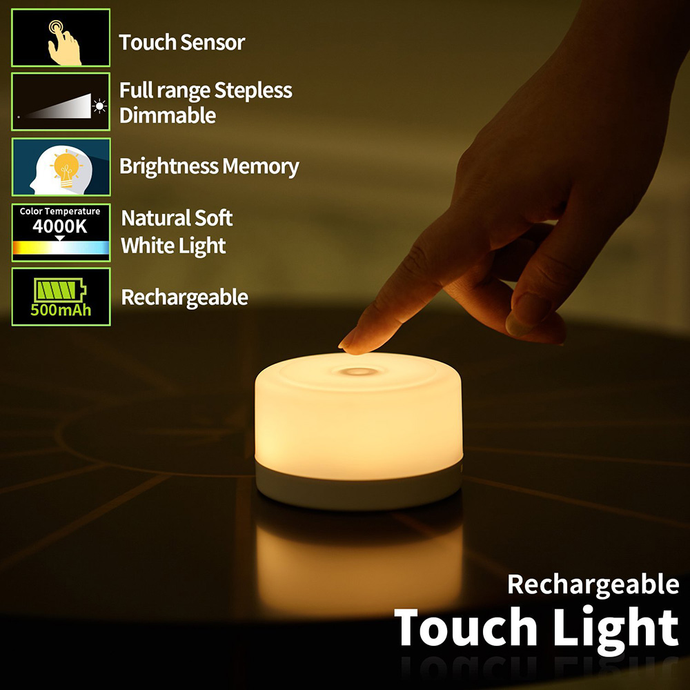 Dimmable Touch Light Bedside Lamp Rechargeable Kids Children Adult Nightlight Bedroom Living Room Baby Nursery Night Light litake dimmable hot air balloon led night light children baby nursery lamp with touch switch usb rechargeable wall lamp