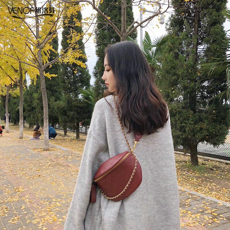 VENOF mode en cuir véritable sac de poitrine pour les femmes décontracté dames samll sac à bandoulière femme en cuir de vache crossboday sac femmes pmsix