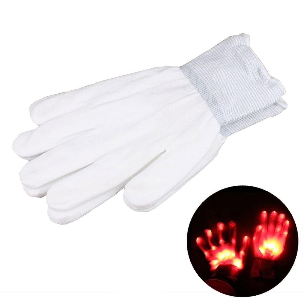 1 пара супер яркие перчатки со светодиодами для вечерние диско DJ для праздника фестиваль светодиодные перчатки светящиеся легкие перчатки Забавный дом - Цвет: Красный