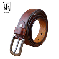LFMB Hot Sale 2016Business Pearl Grain Cow Leather Designer Belts For Men White Pin Buckle