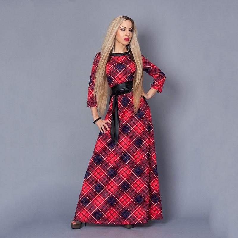 Women-red-plaid-party-dress-vestidos-2017-hot-three-quarter-sleeve-o-neck-casual-elegant-Maxi