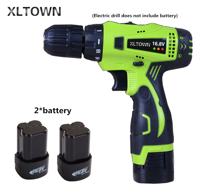 Xlotwn16.8v mini electric drill with 2 battery two-speed rechargeable lithium battery electric screwdriver household power tool 1980w variable speed electric hammer drill with 33pcs accessories electric household tool drilling impact drill screwdriver