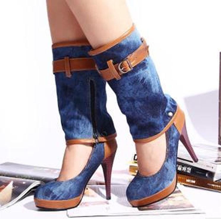 Designer Femme Women Out Stiletto Boot Cut Chaussure Denim pGqzVLSUM