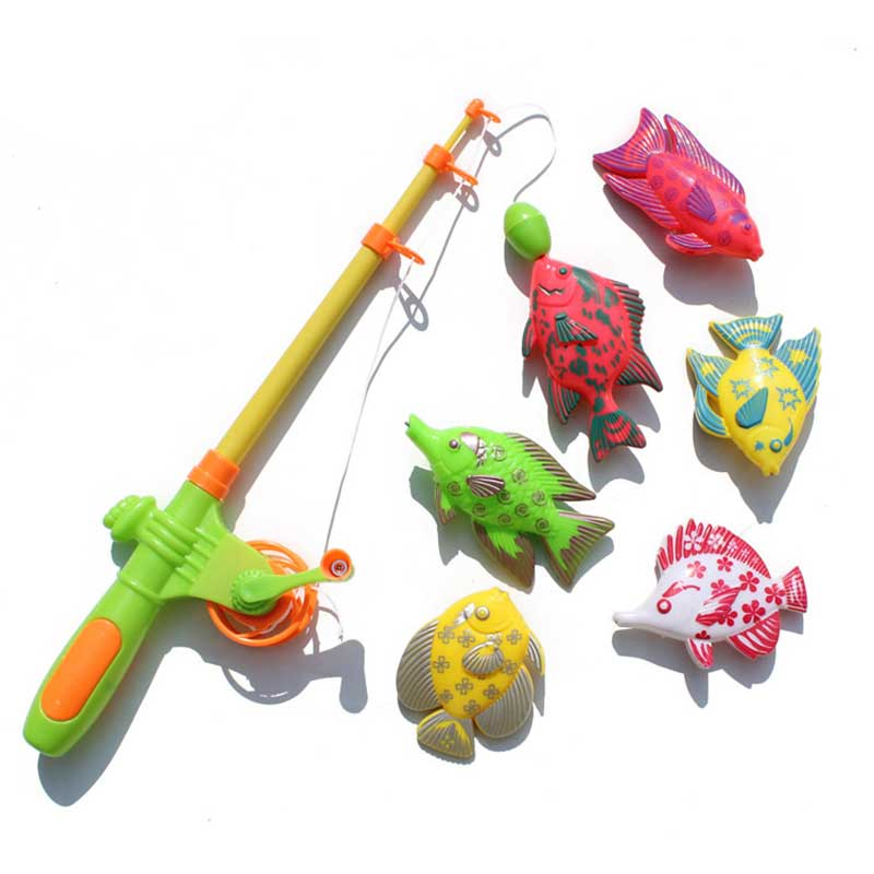 6PCS Children's Magnetic Fishing Toy Plastic Fish Outdoor Indoor Fun Game Baby Bath With Fishing Rod Toys -17 M09