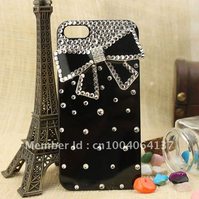 Free shipping /new arrival /phone Case Cover for iphone 5/5G,fashion caystal bling rhinestone ,butterfly bowknot ,2colours