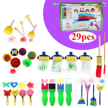29Pcs Rotate Spin Painting Drawing Sponge Brushes Kids DIY Flower Art Graffiti Brushes Painting Tool Roller School Stationery