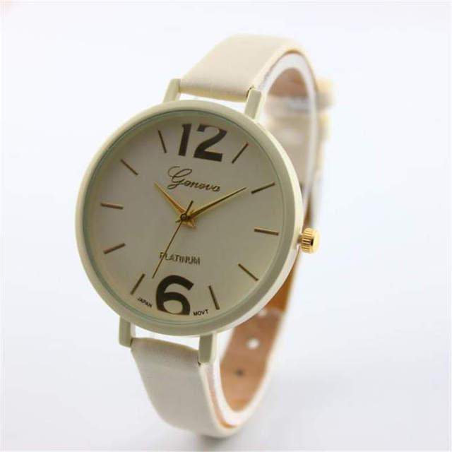 Geneva Women Bracelet Watch Famous brand Ladies Faux Leather Analog Quartz Wrist Watch Clock Women relojes mujer 2018 #D