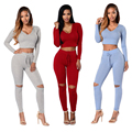 2016 new ensemble  femme crop top and long pants set outfits 2 piece set women tracksuit hooded sexy vestidos bodycon