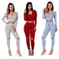 2016 nuevo conjunto femme top y pantalones largos set trajes 2 unidades set mujeres chándal con capucha sexy vestidos bodycon