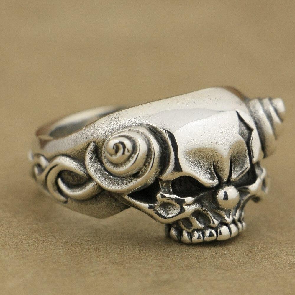 925 Sterling Silver Handmade Joker Skull With Horn Mens Biker Punk Ring TA79A handmade 925 sterling silver joker skull ring mens biker rock punk ring ta78a
