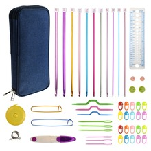 Aluminum Tunisian Crochet Hooks Set 11pcs 2mm to 8mm Afghan Hooks Scissors Needles Sewing Accessories With Blue Case For Mom 300pcs 8mm to 27mm watch band friction pins for clasps with 1 2mm head