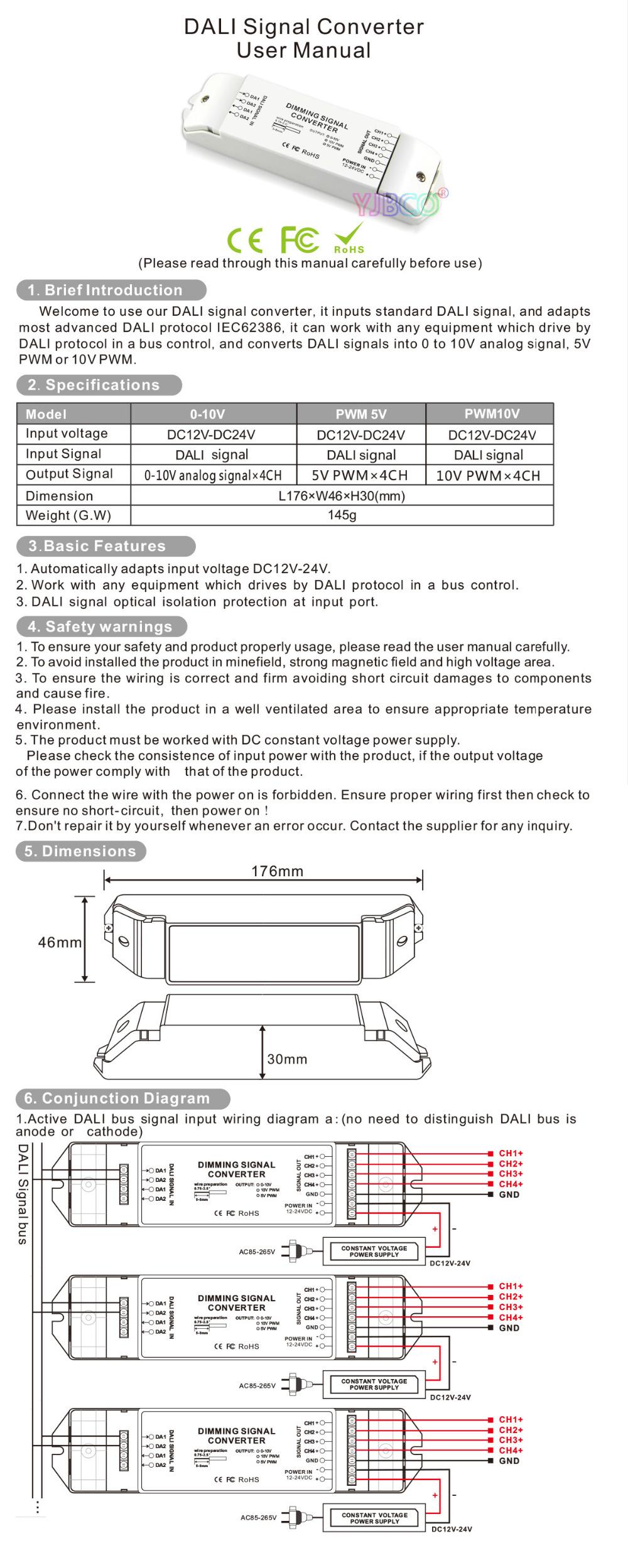 4ch Dali Led Driver Dc12v 24v To 0 10v Pwm5v Pwm10v 4 Channels Wiring Diagram 7 8