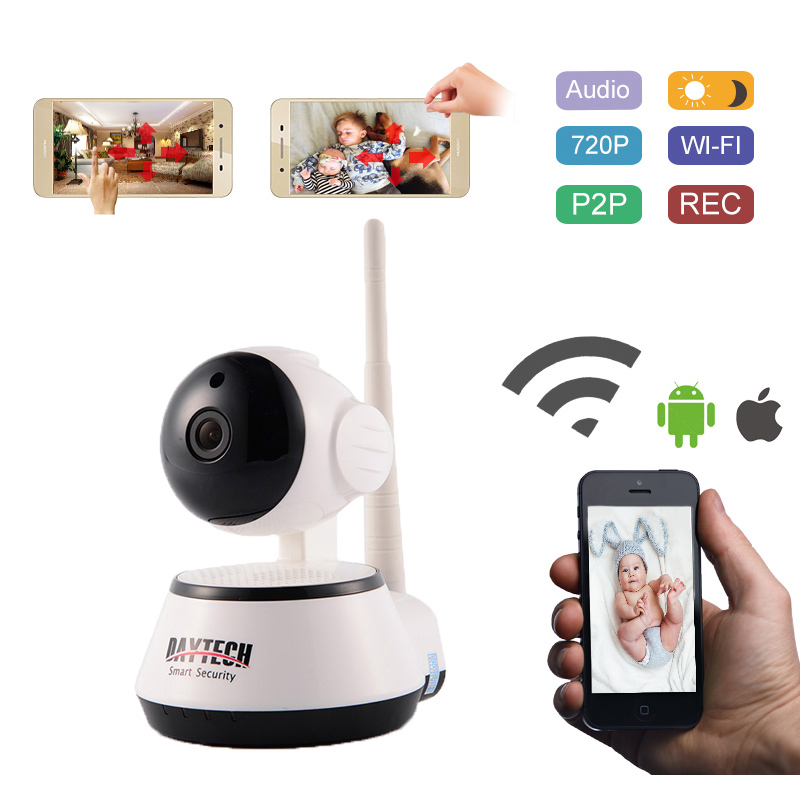 Daytech WiFi IP Camera 720P Home Security Camera Surveillance Wireless Wi-Fi Baby Monitor Night Vision IR Two Way Audio howell wireless security hd 960p wifi ip camera p2p pan tilt motion detection video baby monitor 2 way audio and ir night vision