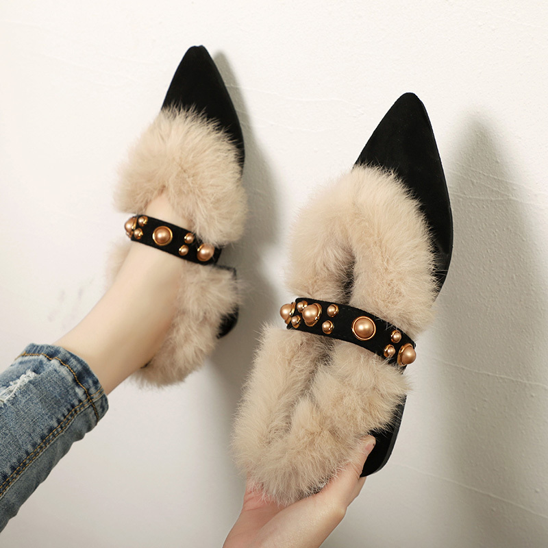 Chaussures Wedding-Shoes High-Heel Casual-Shoes Pointed-Toe Black Slip-On Women Mary Janes
