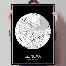GENEVA Switzerland Famous World City Map Print Poster On Paper Or Canvas Wall Sticker Bar Cafe Living Room Home Decoration