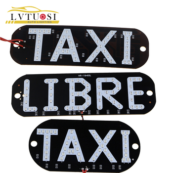 LVTUSI 1pc Taxi LIBRE Lamp LEDs License Plate Car Light Windscreen Cab Indicator Inside LED Taxi Light In LED Sign Car Taxi BJ image
