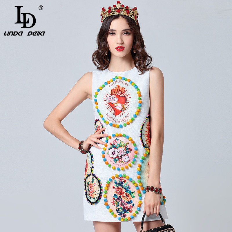 LD LINDA DELLA 2019 Fashion Runway Summer Dress Women s Sleeveless Elegant White Crystal Cequin Floral