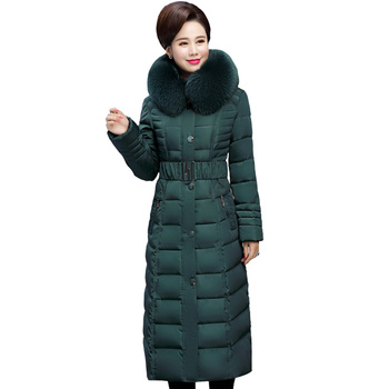 Plus Size 4XL 5XL Middle-Aged Long Winter Jacket Thicken Hooded Fur Collar Cotton Padded Jacket Female Winter Coat Women C5062