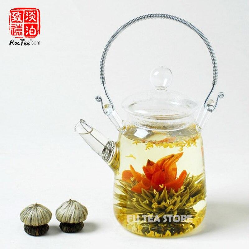 1 pcs résistant à La Chaleur Théière En Verre + 9 pcs différente Floraison Thé Aucune Égoutture verre de thé à la main pot bouilloire