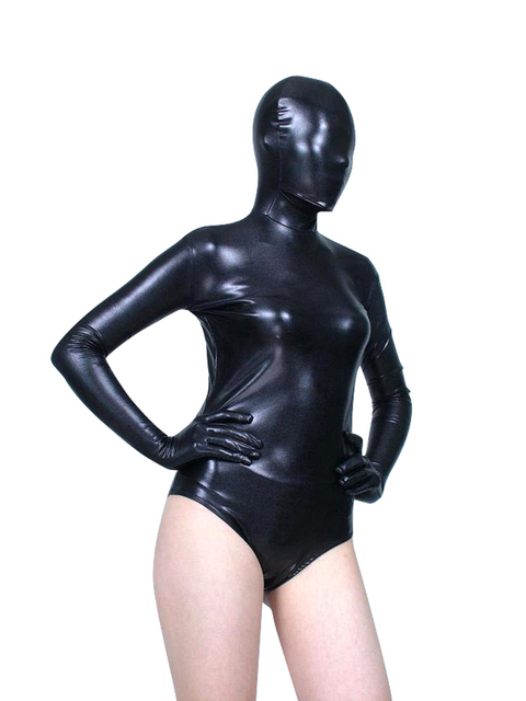 BetterParty Black Shiny Metallic Zentai Catsuit Leotard Sexy Unitard  Bodysuit