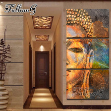 FULLCANG diy 3pcs/set diamond painting abstract golden buddha triptych mosaic cross stitch embroidery full square drill G1019