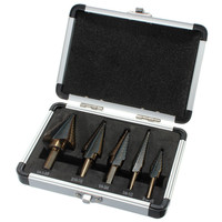 HOEN 5pcs Set HSS Cobalt Multiple Hole 50 Sizes Step Drill Cone Drill Bits Set With